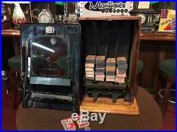 1915 Match Box Vending Machine PIX Cast Iron Coin Operated WATCH VIDEO