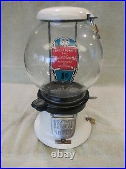 1946 Vintage Penny Columbus Model 46 Gumball Pistachio Vending Machine Coin Op