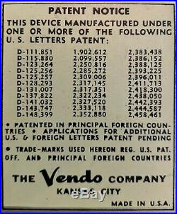 1950 Coke Vendo E110A NO Coin. Vertical Multi- Selection Coke Machine