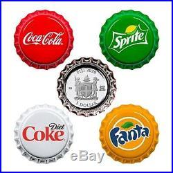 2020 24 gram Fiji Coca-Cola Vending Machine Proof Silver 4-Coin Set. 999 Fine