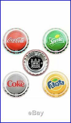 2020 Fiji Coca Cola Vending Machine 4 Coin Set Coke, Sprite, Fanta, & Diet Coke
