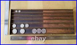 ANTIQUE 19th C MUSEUM COIN CHANGER & TRAY EARNIST & MCCOOK NUMISMATIC EXONUMIA