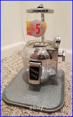 ANTIQUE 5c COIN OP PEANUT NUT CANDY VENDING MACHINE