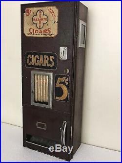 Antique BAZARTE 5 cent Cigar Vending Machine Dispenser Coin Op with Key
