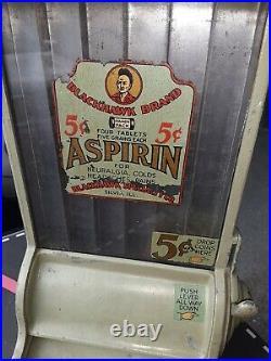 Antique BLACKHAWK 5 CENT COIN OPERATED ASPIRIN VENDING MACHINE DISPENSER
