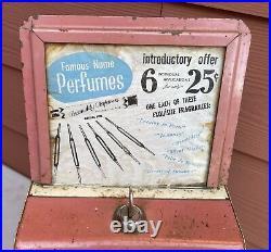 Antique Vintage Coin Operated Perfume Vendor Dispenser Machine