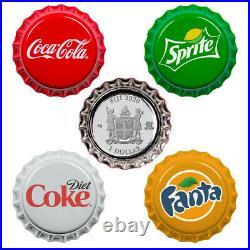 COCA COLA Bottle Cap Vending Machine Set Fiji 2020 4 x 1$ Silver Coins NIB NEW