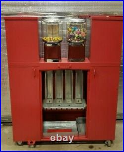 Coin Op Vending 5 Bulk Candy/Toy Machines Plus Tattoo/Sticker Machine on Rack