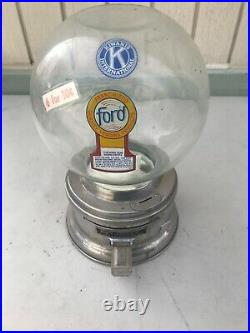 FORD Gumball Chewing Gum Machine table top Accepts Coins No Key