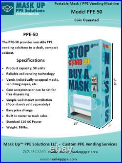 Portable Mask / PPE-50 Vending Machine, Coin