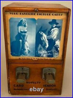 Rare 1933 Penny Card Vending Machine, w 42 Cards, USA, Metropolitan Coin Machine