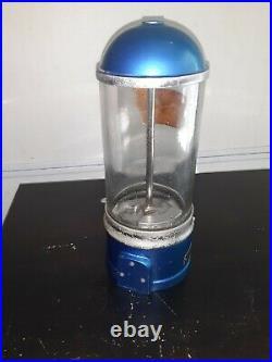 Rare Antique D. D. LEWIS Gumball Coin-op vending Machine orig. Blue paint