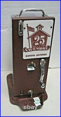 Rare Coin Operated School Savings Stamp Machine Savemore Red Bank N. J Schermack