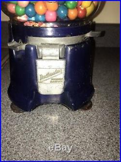 Rare Dark Blue Porcelain Northwestern 33 gumball coin operated vending machine