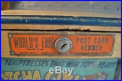 Rare World Fair Post Card Vender Vendor Penny Coin Op Machine Pin Up Girl Hotcha
