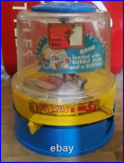 Ring Ding Bomb Gum machine fully working 1950 L. M. Becker Co Nickel Coin Op Space