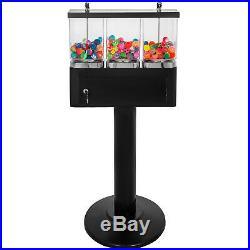 Triple Bulk Candy Vending Machine Trio Coin Mechanisms 3 Head Black
