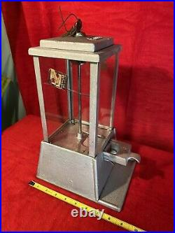 VINTAGE 1c COIN OP Star PEANUT NUT CANDY MACHINE With Key WORKS Crack In 1 Pane