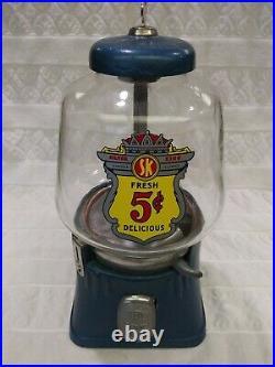 Vintage 1946 Silver King Nickel Coin Op Bulk Vending Machine Dispenser Gumball