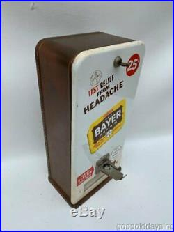 Vintage 1960's Coin Operated Bayer Aspirin Vending Machine Works w Tins