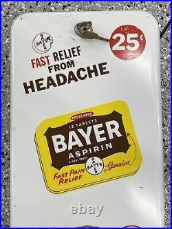 Vintage 25 Cent Coin Operated Bayer Aspirin Vending Machine Dispenser