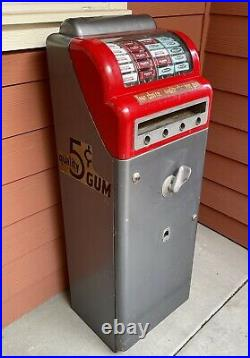 Vintage Coin Op Art Deco 4 Reel Column Floor Console Pack Gum Vending Machine