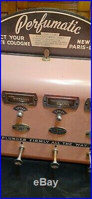 Vintage Coin Op Vending machine Perfume PERFUMATIC 1950s 50s sign advertising