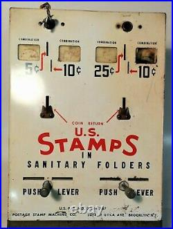 Vintage, Coin Operated US Stamp Machine, RARE, 4 Slots