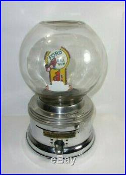 Vintage Ford Gumball Machine 1 Cent Coin Operated T