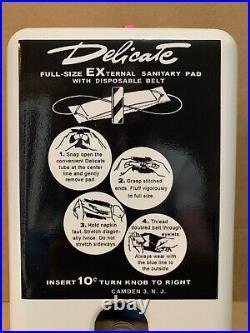 Vintage Sanitary Pad Kotex Vending Machine Dispenser Coin Op Bathroom Sign