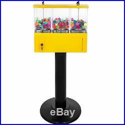 Yellow Bulk Candy Vending Machine Coin Mechanisms Bulk Vendor Triple Dispenser