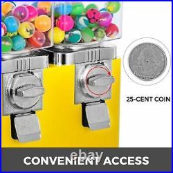 Yellow Triple Bulk Candy Vending Machine Coin Mechanisms Three-head Dispenser
